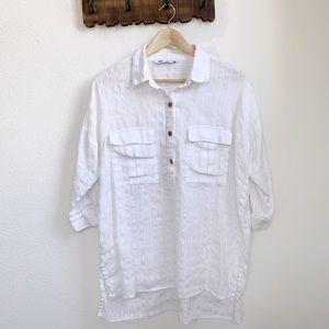 Zara | White Boxy Cotton Tunic Top